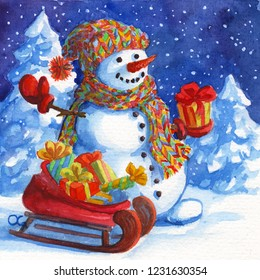 Snowman Santa Claus helper carrying Christmas presents in a sleigh. Snow forest background. Hand drawing painted watercolor hobby card. Winter sale of goods banner. Holds a gift in hands.