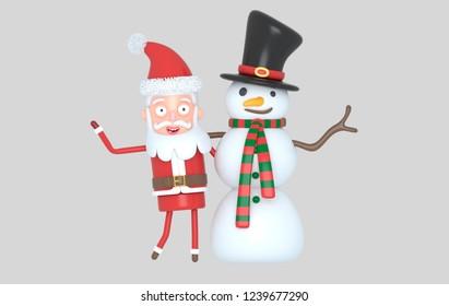 Snowman & Santa congratulating Christmas. 3d illustration. Isolated.