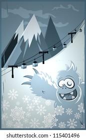 snowman and ski lift