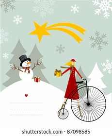 Snowman with star and gift on a bicycle illustration with blank lines to write on snowy background.
