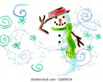 Snowman tipping his had in a colored pencil sketch