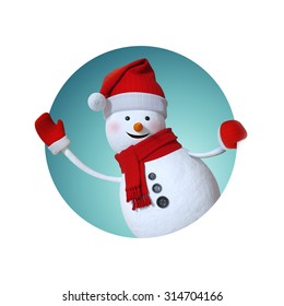 snowman waving hand, looking out window, inside round label, Christmas gift tag, 3d illustration