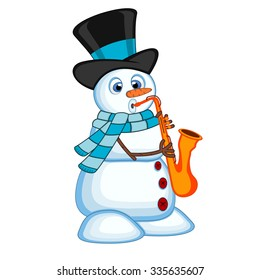 snowman wearing a hat and a blue scarf playing saxophone