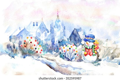 Snowman, winter landscape. Christmas watercolor illustration.