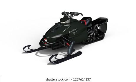 Snowmobile, motor sled, snow jet ski isolated on white background, 3D rendering
