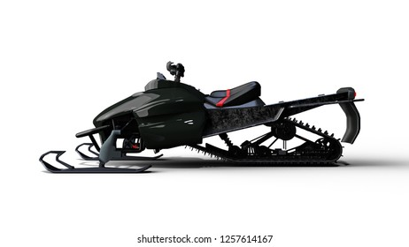 Snowmobile, motor sled vehicle, snow jet ski isolated on white background, side view, 3D rendering