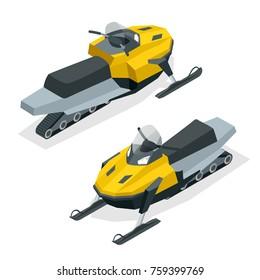 Snowmobiles set isolated on white background. Isometric illustration.
