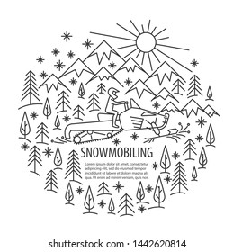 Snowmobiling banner in linear style. Snowmobiling tour template with pleace for text. illustration