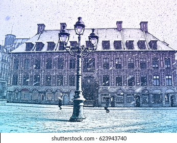 Snowstorm in old European town. Central town square with people, street lamp and old stock exchange building in Lille, France. Horizontal colored engraving Illustration.
