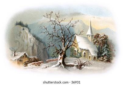 Snowy Chapel Scene - an early 1900s vintage illustration.