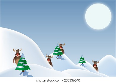 Snowy christmas landscape with rudolph the red nose reindeer/Christmas landscape/Vector