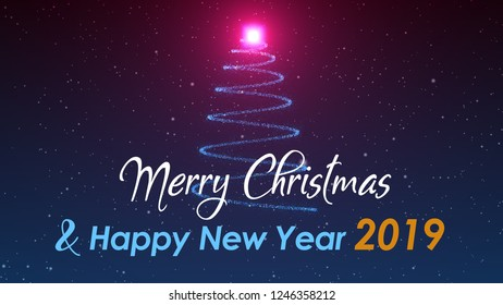 Snowy Christmas Tree Light And Happy New Year 2019 Greeting Blue Red Background Design