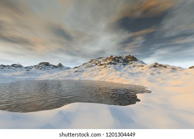Snowy lake, a winter landscape,  3D rendering, wonderful waters and cloudy sky.