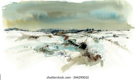 Snowy landscape, watercolor illustration artistic background