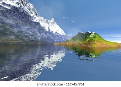 Snowy mountain, 3d rendering, an alpine landscape, a small island in the lake, grass on the ground and birds in the sky.