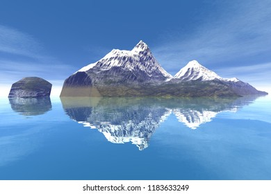 Snowy mountain, 3d rendering, an alpine landscape, a beautiful island, reflection on water and a blue sky.