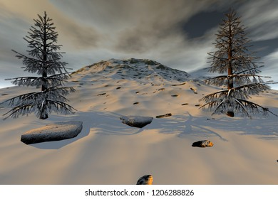 Snowy mountain, 3d rendering, an alpine landscape, beautiful trees and a cloudy sky.