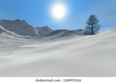 Snowy mountain, 3d rendering, an alpine landscape, a beautiful tree and a bright sun in the sky.