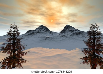 Snowy mountain, 3d rendering, an alpine landscape, trees with  orange leaves and a beautiful sun in the sky.