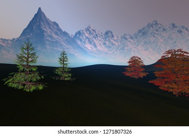 Snowy mountain, 3d rendering, an autumn landscape, beautiful trees, grass on the ground and a hazy sky.