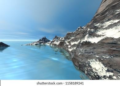Snowy mountain, 3d rendering, a polar landscape, rocks, wonderful sea and a blue sky.