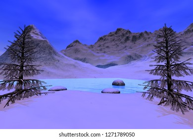 Snowy mountain, 3d rendering, a winter landscape, beautiful trees, stones, reflection on the lake and a blue sky.