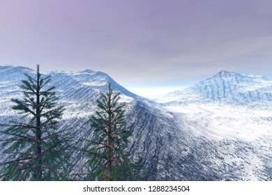 Snowy mountain, 3d rendering,an alpine landscape, coniferous trees and cloudy sky.