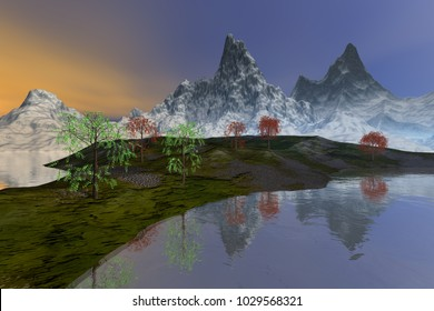 Snowy mountains, 3D rendering, an alpine landscape, beautiful trees with green and yellow leaves, reflection on water and a cloudy sky.