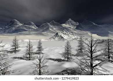Snowy mountains, 3d rendering, an alpine landscape, coniferous trees, fog over the lake and a dark sky.