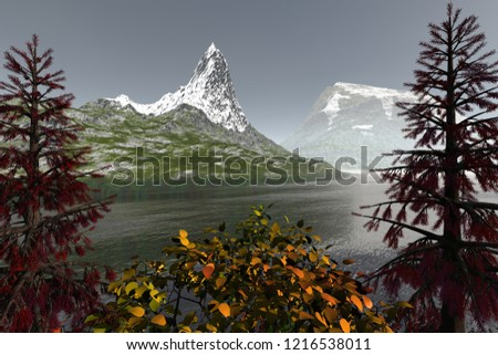 Snowy mountains, 3d rendering, an autumn landscape, beautiful lake, grass on the ground and a hazy sky.