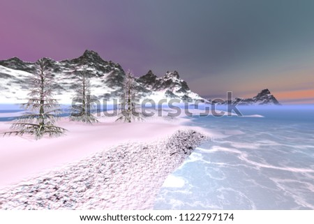 Snowy mountains, 3d rendering, a polar landscape, beautiful trees, frozen waters and colored clouds in the sky.