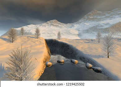 Snowy mountains, 3d rendering, a winter landscape, stones in the river, beautiful trees and cloudy sky.