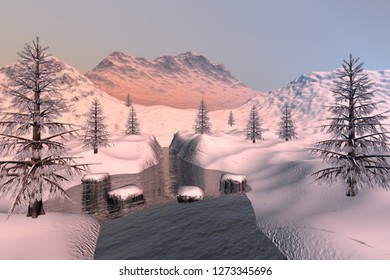 Snowy mountains, 3d rendering, a winter landscape, coniferous trees, stones in the river and a hazy sky.