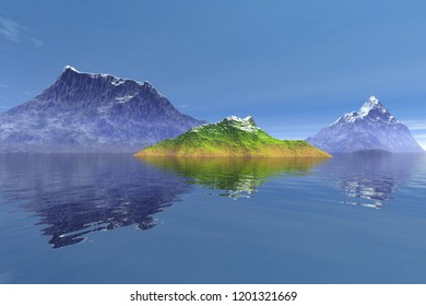 Snowy mountains, an alpine landscape,  3D rendering, reflection on water and a blue sky.