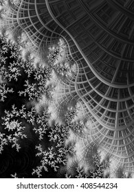 Snowy Mountains black and white Mandelbrot fractal art