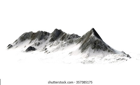 Snowy Mountains peaks isolated on white background