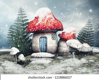 Snowy scene with a fairy cottage, mushrooms and fern on a winter meadow. 3D illustration.