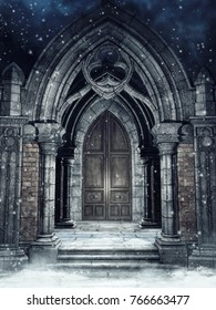 Snowy scene with a stone gothic gate at night. 3D illustration.