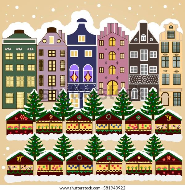 Snowy street. Flat design. Urban winter landscape. Christmas card Happy Holidays banner.