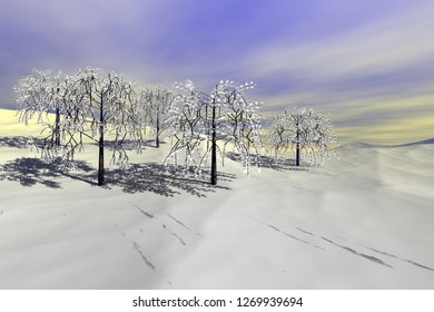 Snowy trees, 3d rendering, a winter landscape, beautiful shadows on the white surface and a cloudy sky.