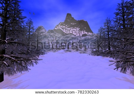 Snowy trees, 3D rendering, a winter landscape, forests in the mountains, fog  and birds in the sky.