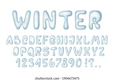 Snowy white blue alphabet, winter font. Cute set letters, numbers, symbols. Illustration isolated on white background.