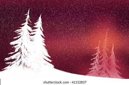 snowy white winter silhouette
