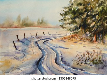 Snowy winter forest landscape. Country road in snow.Pictzre created with watercolors.