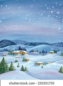 Snowy winter landscape. Watercolor illustration.