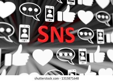 SNS concept blurred background 3d render illustration
