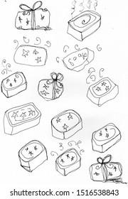 Soap bar block black line sketch doodle cute quirky wash clean bubbles gift illustration scent smell decor