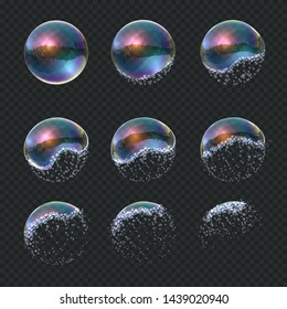 Soap bubble explode. Realistic water sphere explosion, transparent blue reflections isolated soap foam balloon.  exploding 3d ball