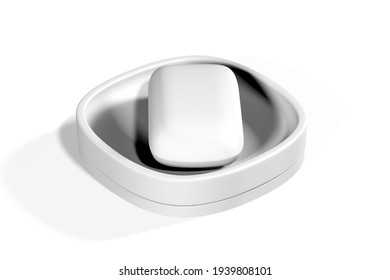 Soap dish mockup isolated on white background - 3d render