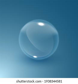 Soap water bubble. Transparent isolated realistic illustration. Graphic concept for your design, 3d illustration
